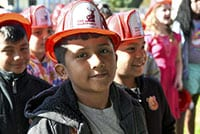 Students gather at a fire safety event